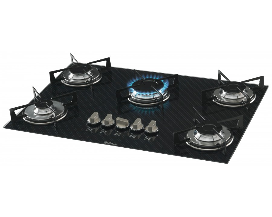 Fogao cooktop fischer 5q gas mesa vidro 16938 f decor slim